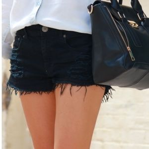 Guess Black High Waisted Denim Cutoffs